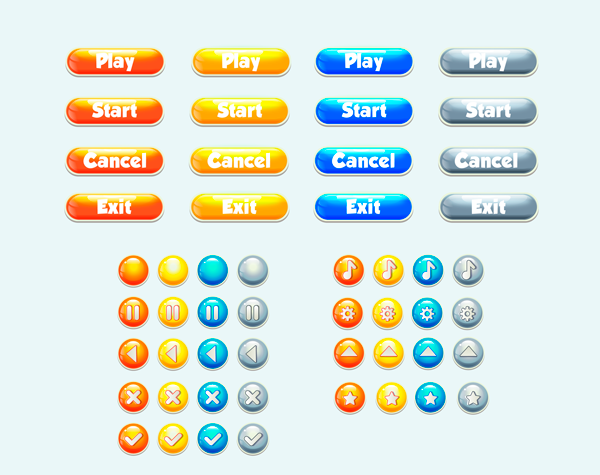 glass buttons for games